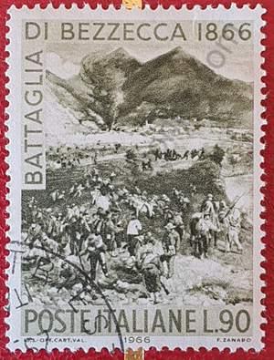Sello Centenario Batalla de Bezzecca - Italia 1966