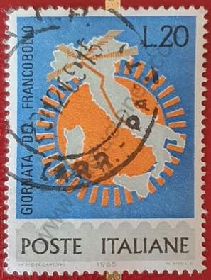 Mapa de Italia y sol - Día del sello 1965