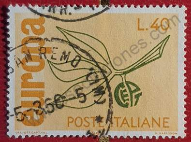 Sello con hojas y fruto - CEPT - Italia 1965