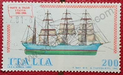 Barco a Palo - Sello de Italia año 1980