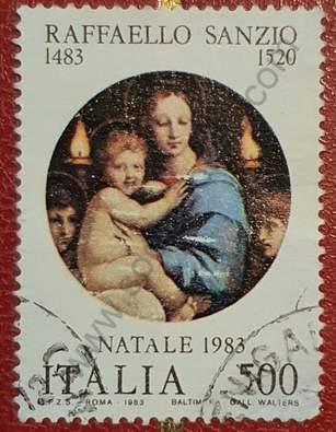 Sello navidad 1983 Italia - Pintura de Rafael