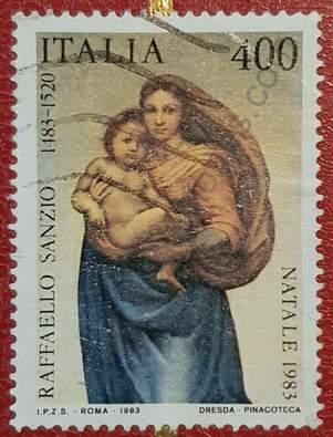 Sello 1983 Navidad Italia - Pintura de Rafael