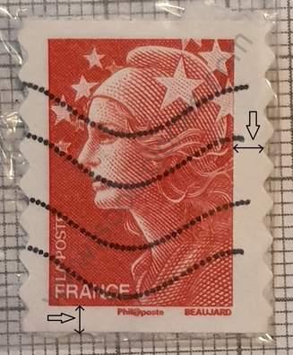 Sello 2008 Francia Marianne - borde 3.5 mm