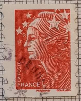 Sello Marianne dcha 1mm abajo 2mm - Francia 2008