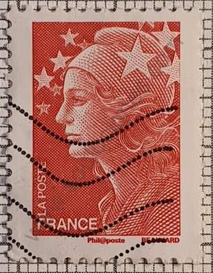 Sello dentado 4 lados Marianne - Francia 2008