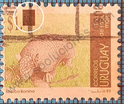 Tatú sello variante en la sobre impresion Uruguay 2004