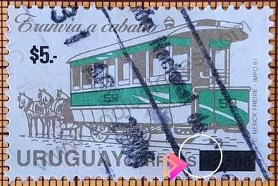 Sello de Tranvía a caballo - Uruguay 2004