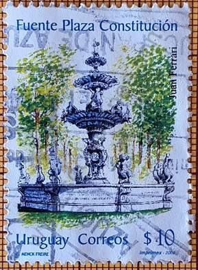 Fuente Plaza Constitución - Sello Uruguay 2005