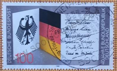 Sello 40 aniversario R.F.A. - Alemania 1989