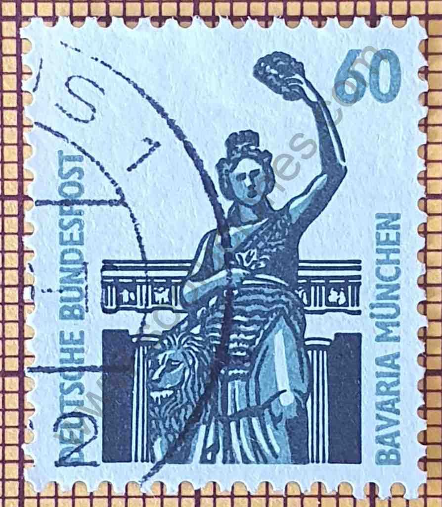 Monumento de Bronce Bavaria - Estampilla de Alemania año 1987