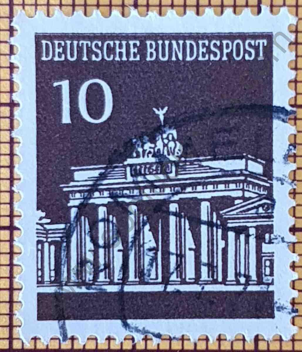 Puerta Brandenburg 10Pf - Sello de Alemania año 1966