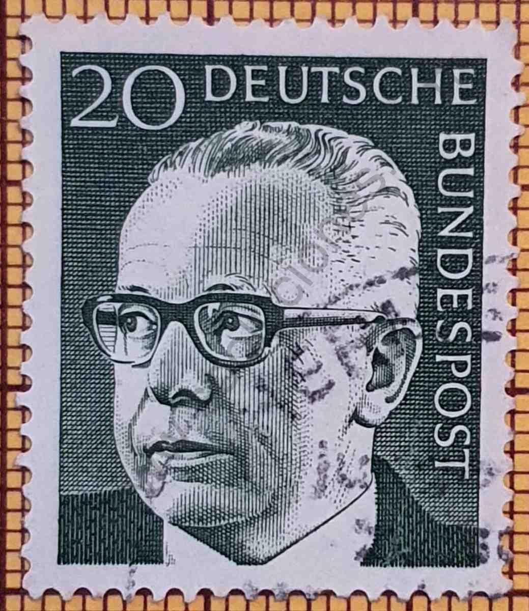 Dr. Gustav Heinemann 20Pf - Sello de Alemania año 1970