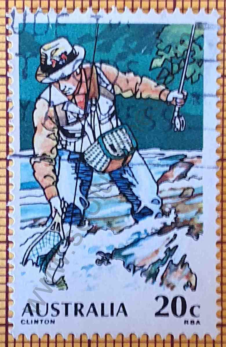 Pesca con mosca - Sello 20c Australia año 1979