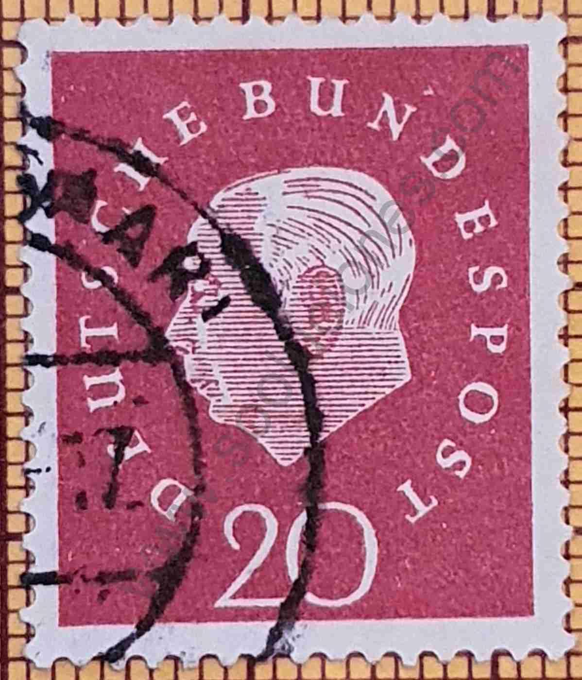 Sello Theodore Heuss 20Pf - Alemania 1959