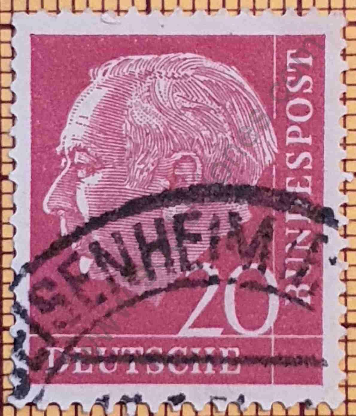 Theodore Heuss 20Pf - Sello de Alemania 1954
