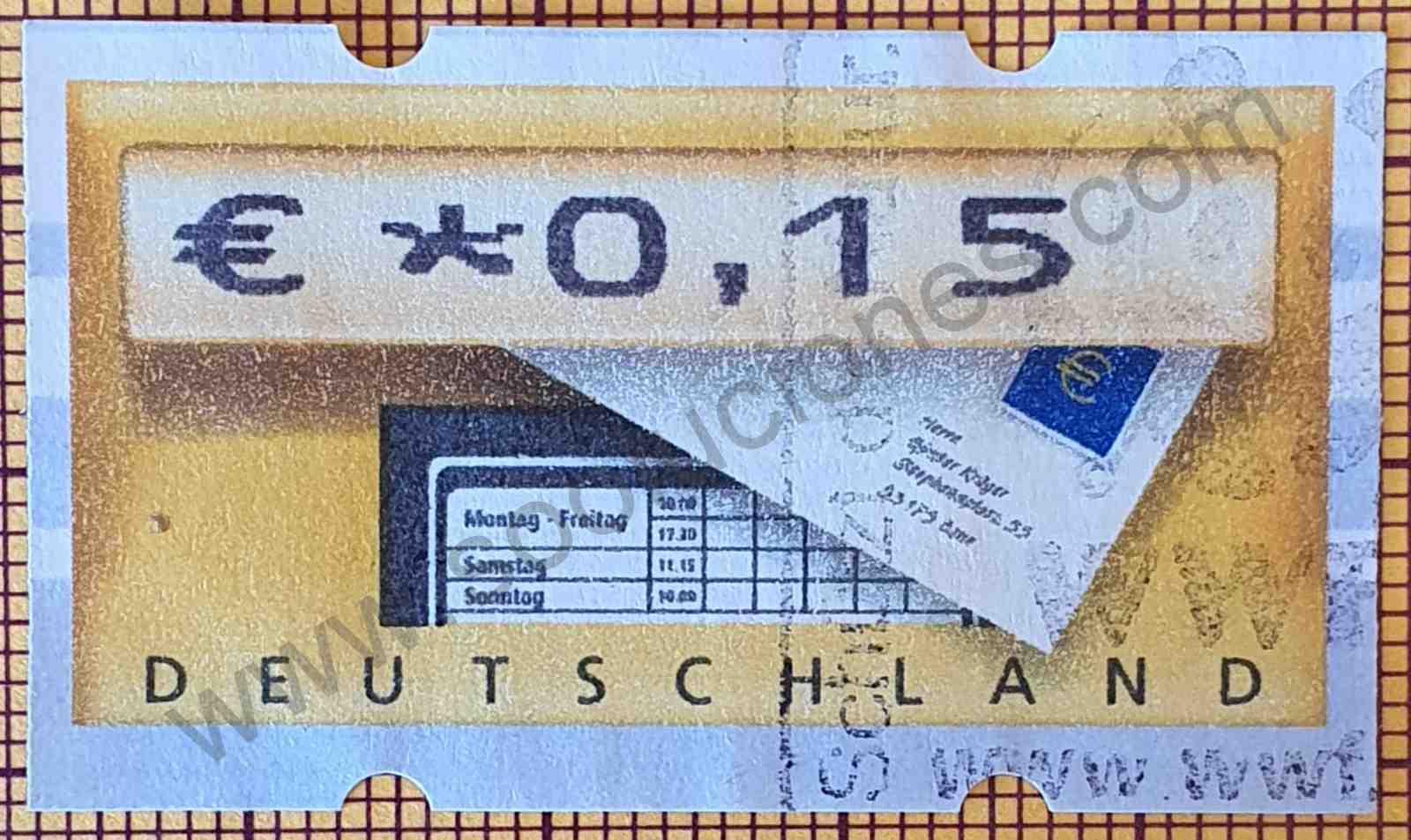 Etiqueta ATM Alemania 2002 - Buzón y carta