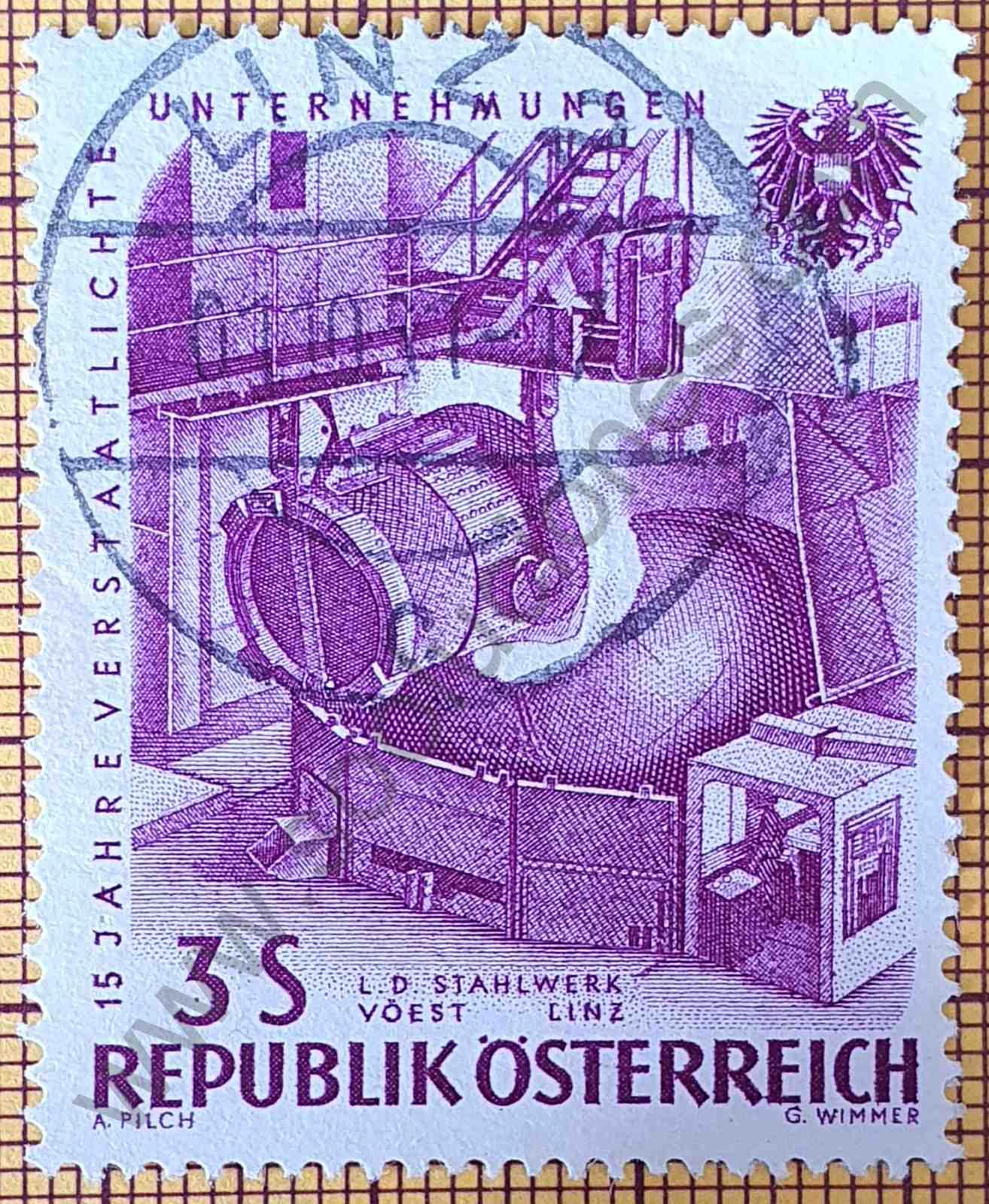 Industria del acero - Sello de Austria año 1961