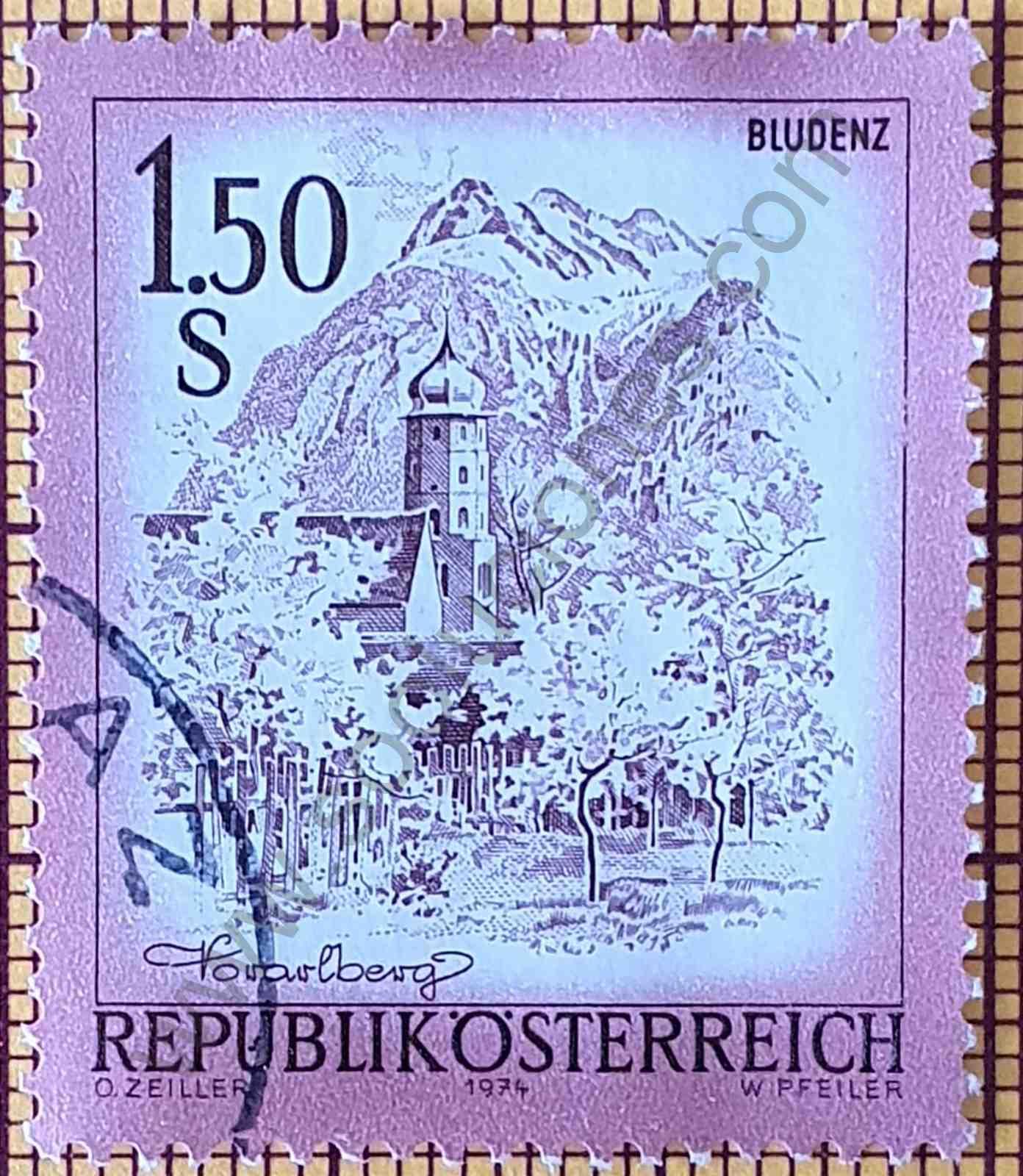 Paisaje de Bludenz - Estampilla de Austria año 1974