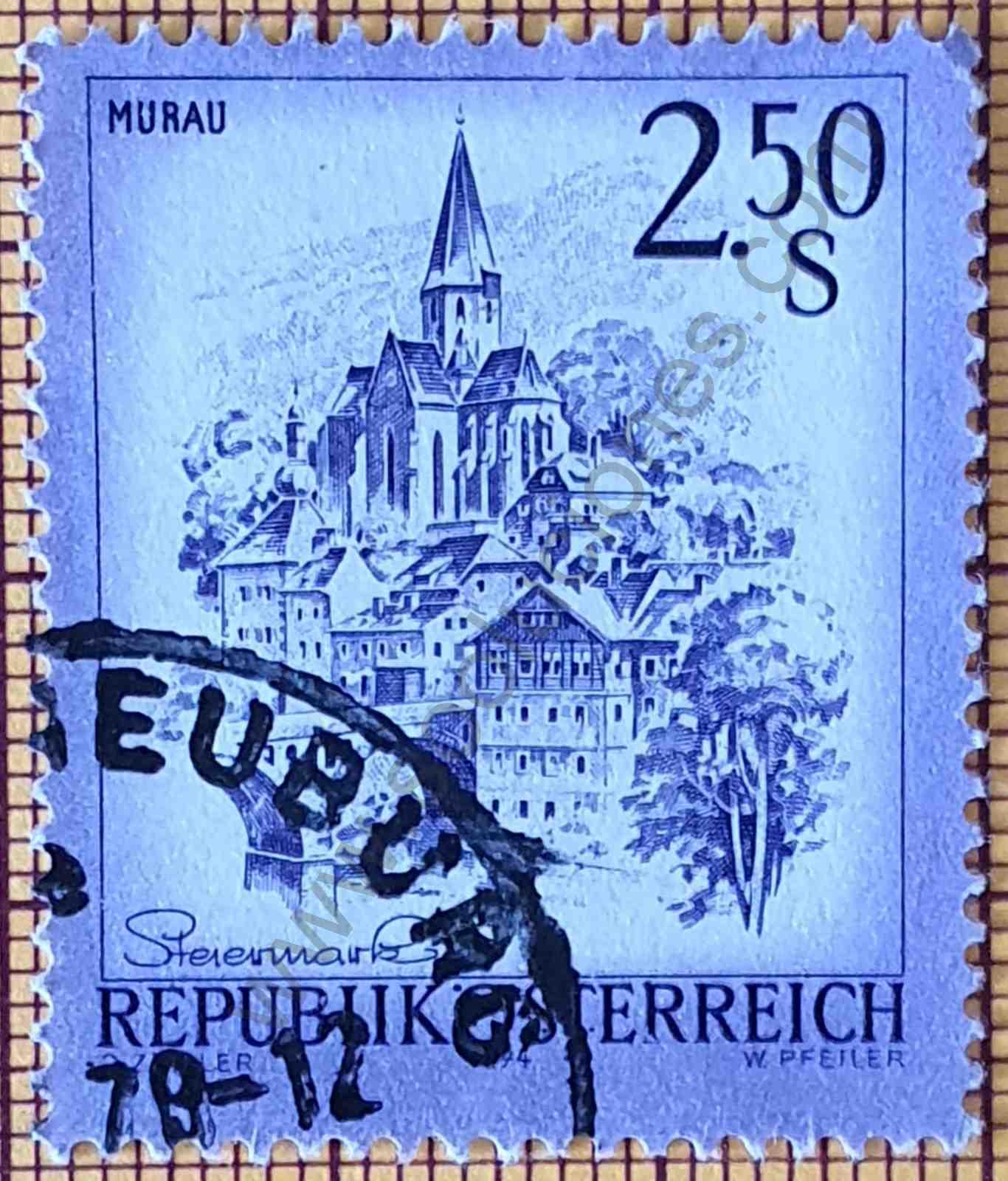 Paisaje ciudad de Murau - Sello de Austria año 1974
