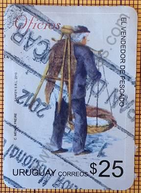 Sello El vendedor de Pescado - Uruguay 2010