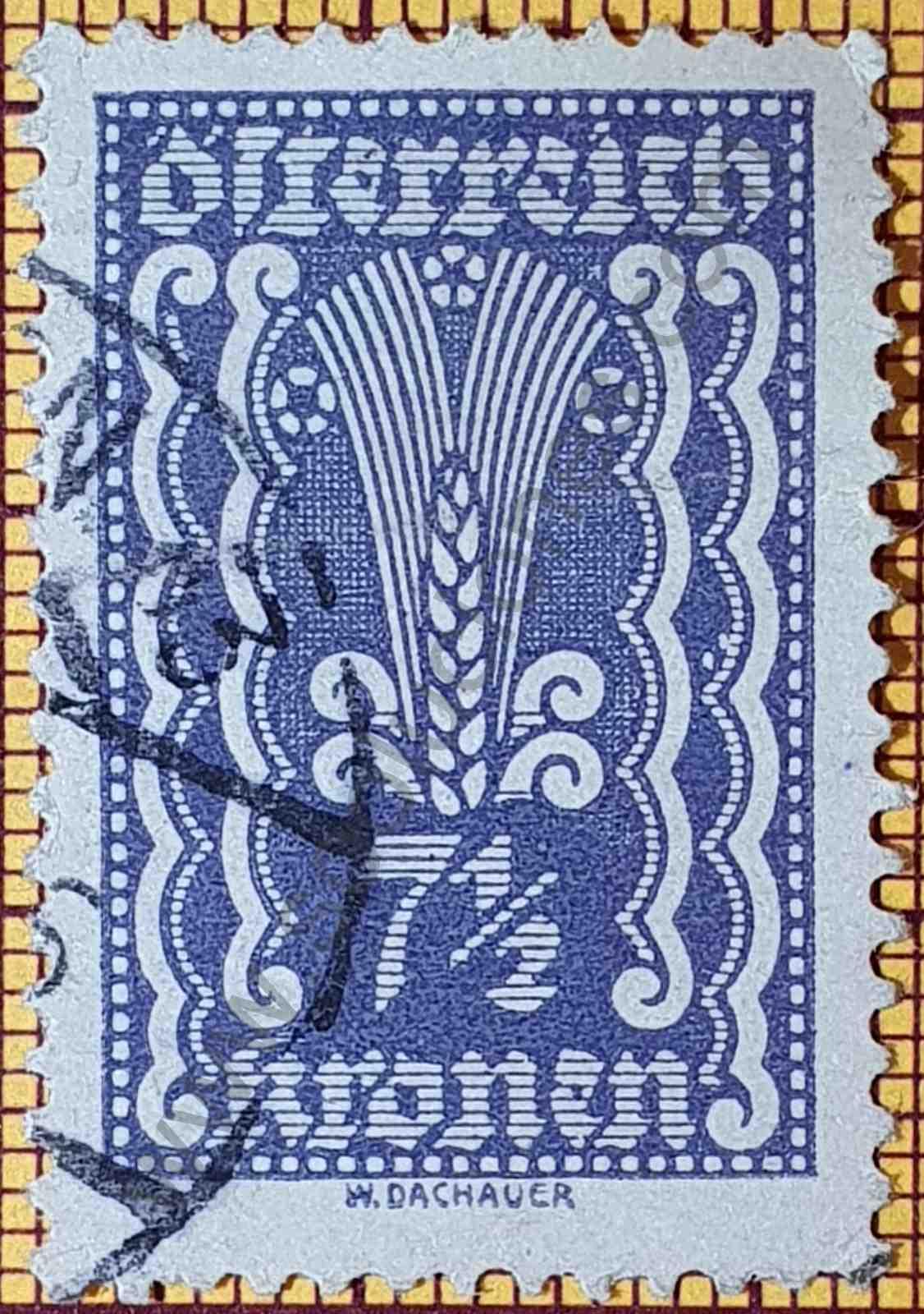 Sello Espiga Trigo - Austria 7 1/2 Kr año 1922