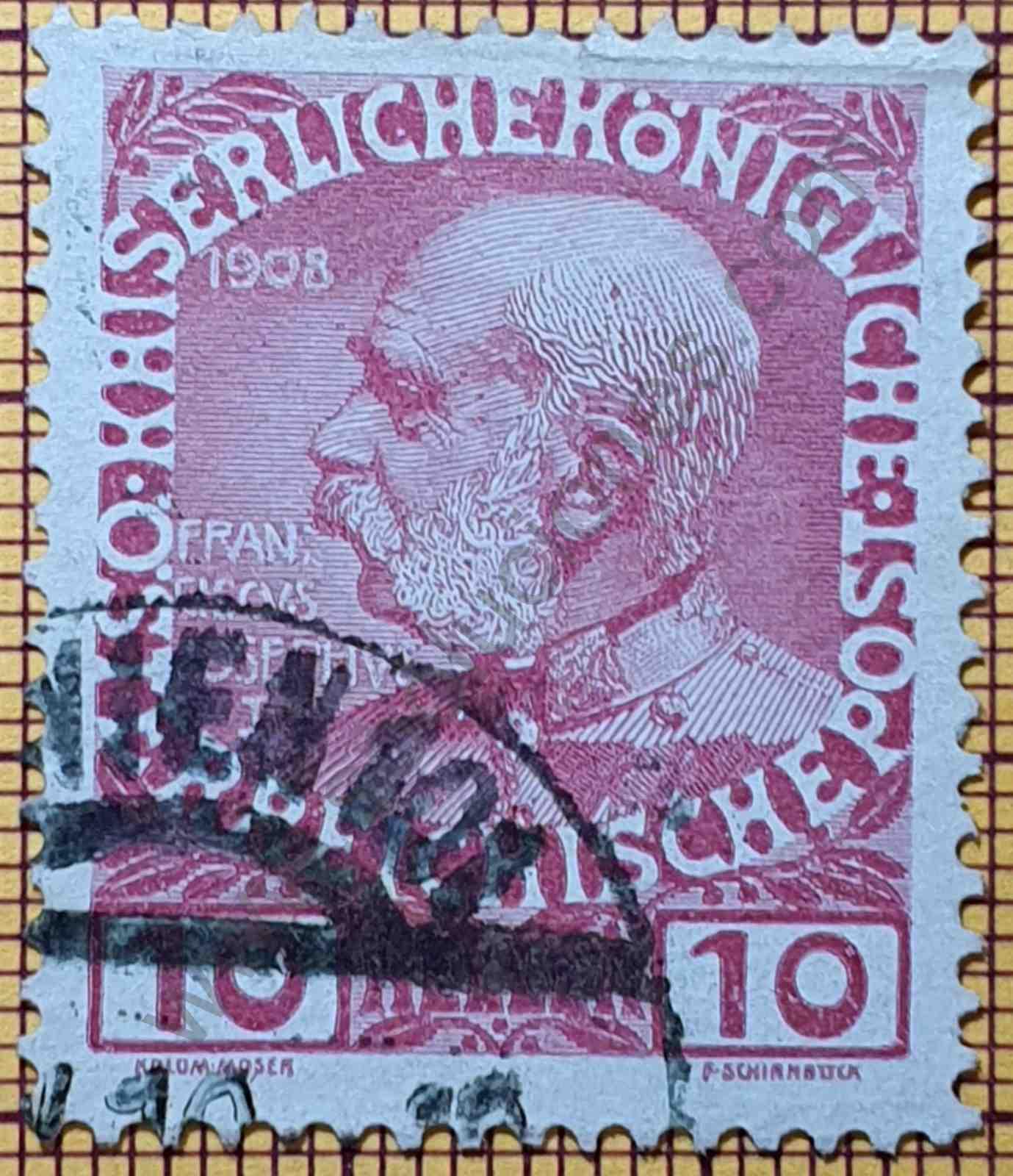 Franz Joseph 10 Heller - Sello Austria 1908