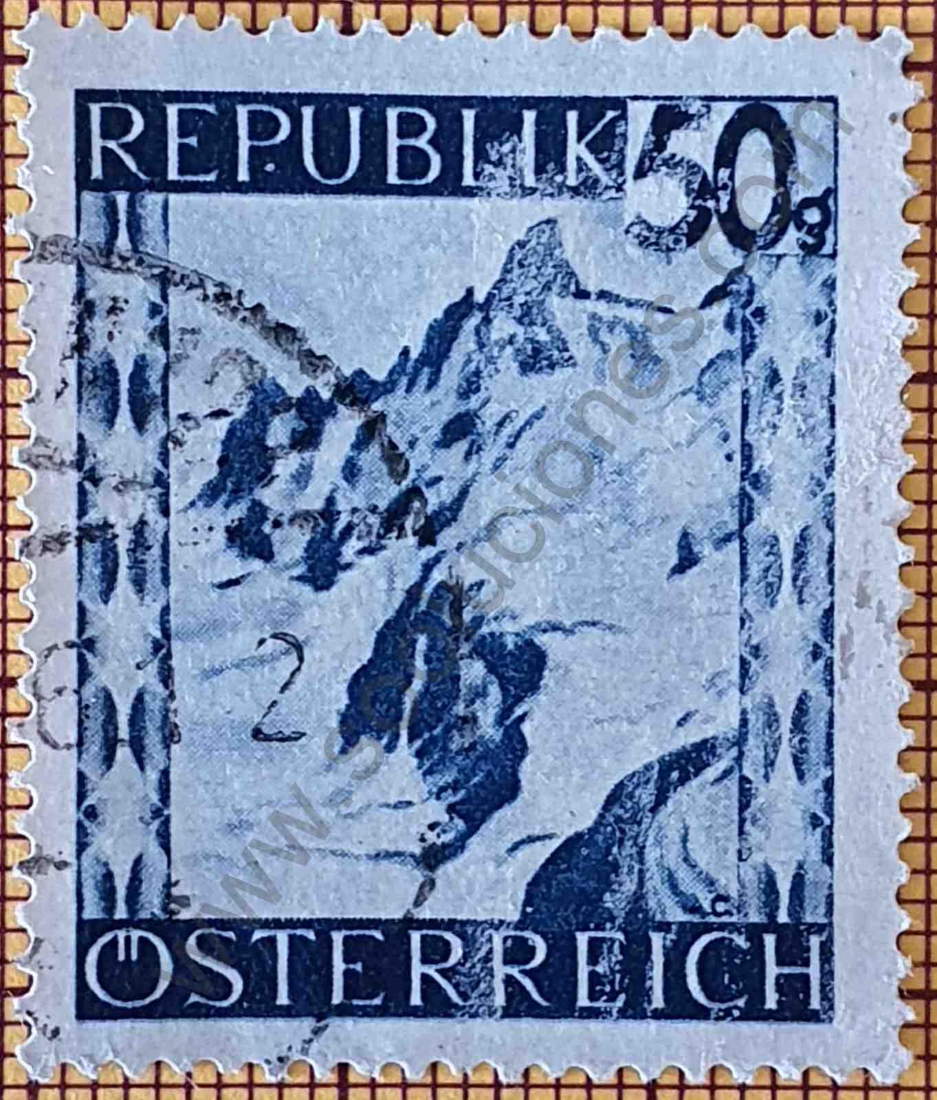 Alpes de Silvretta - Sello de Austria año 1945