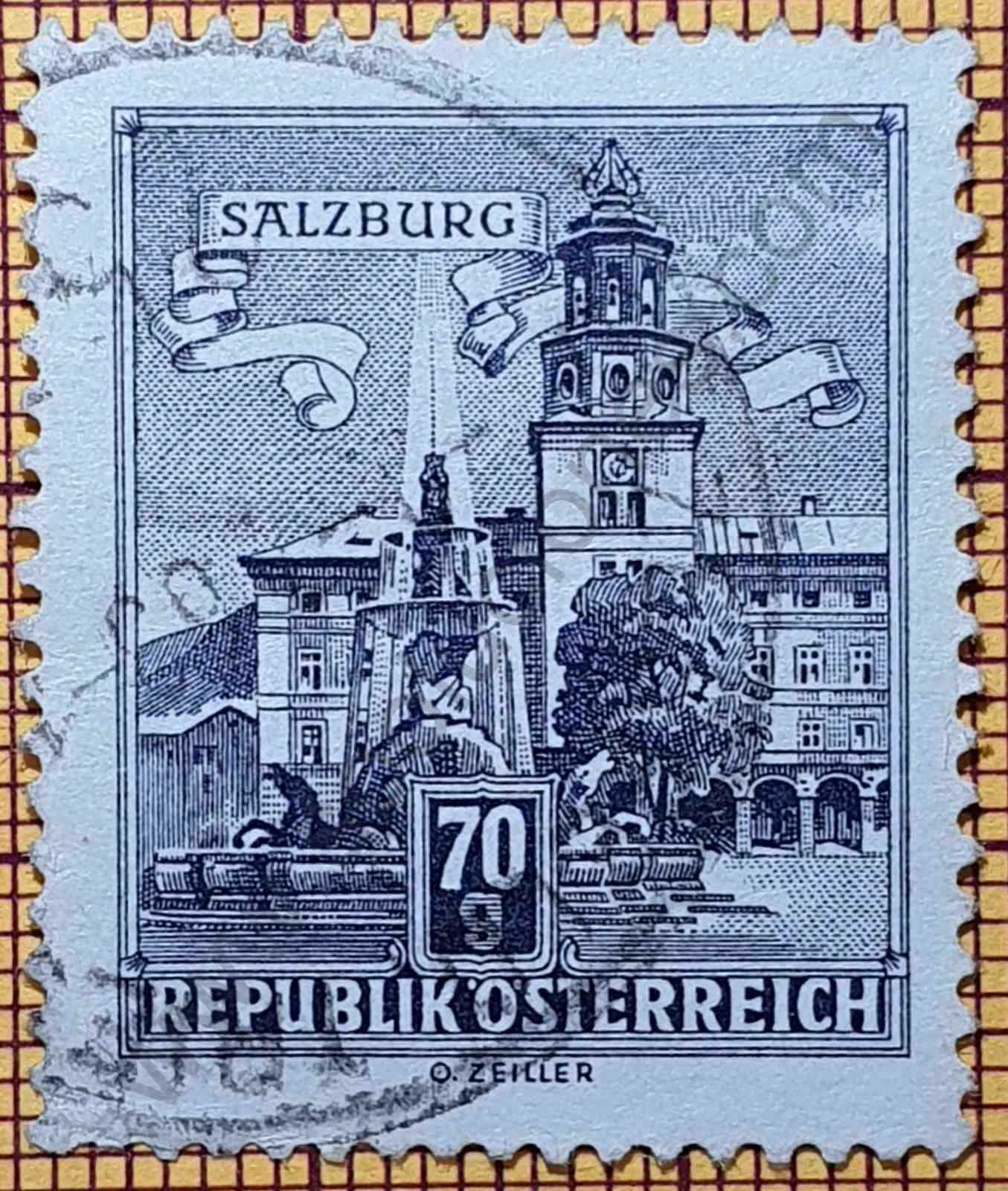 Residenzplatz de Salzburgo - Sello de Austria año 1962
