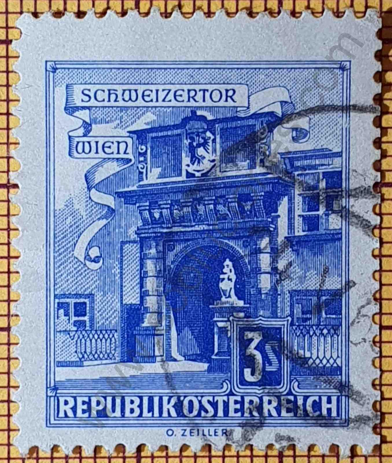Sello Puerta Suiza - Austria 1962