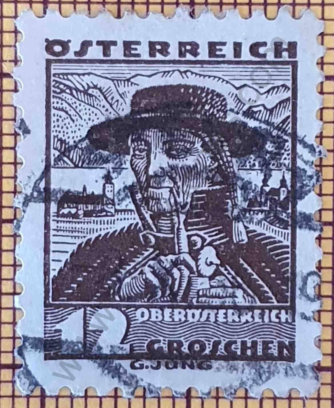 Agricultor de Traun - Sello de Austria año 1934