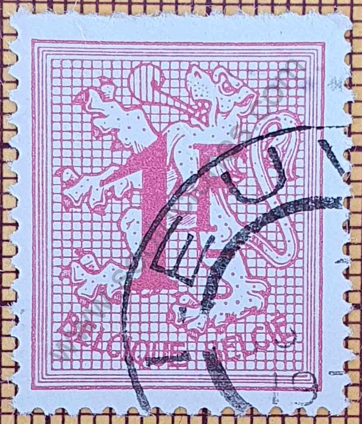 Número 1 y León Heráldico - Sello Bélgica 1967