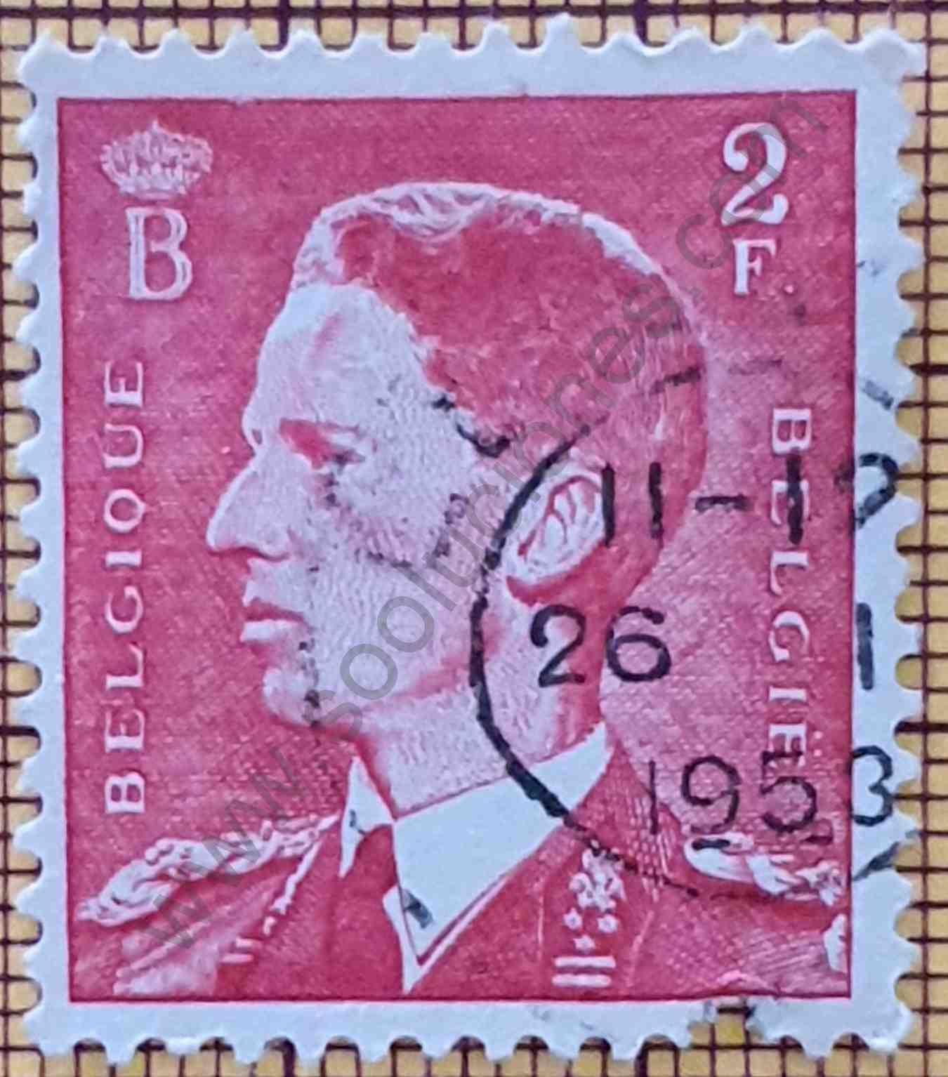 Rey Baudouin 2F - 1952 - sello de Bélgica