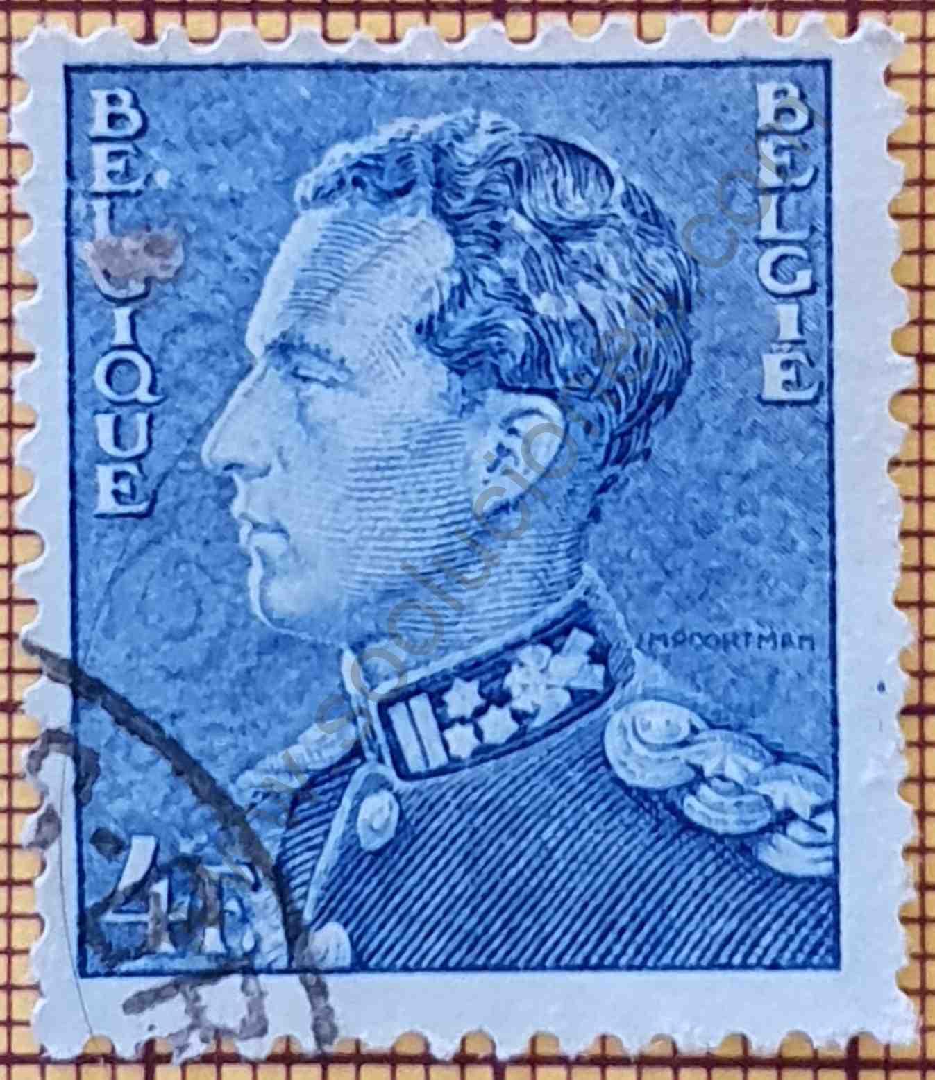 Rey Leopoldo III 4F - Sello Bélgica año 1950