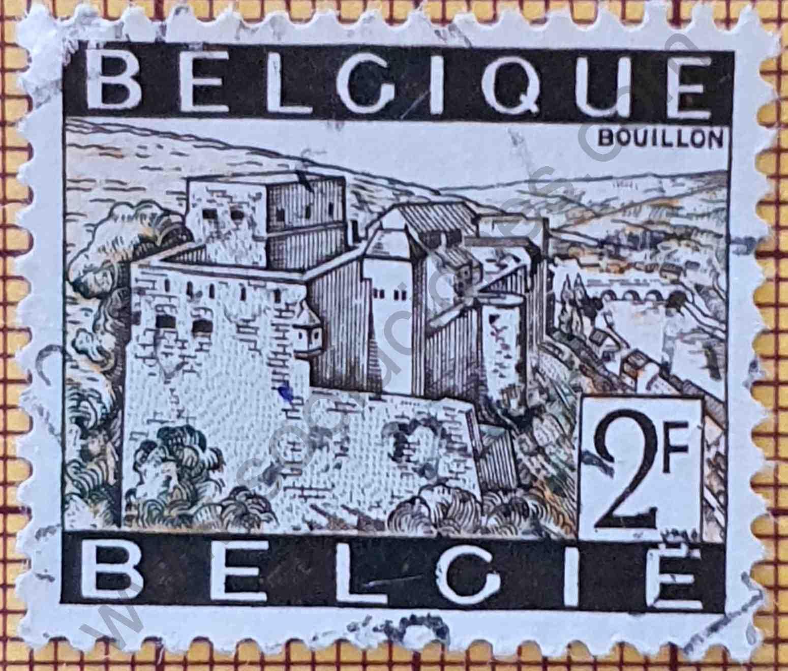 Sello Castillo Bouillon 2F - Bélgica 1966