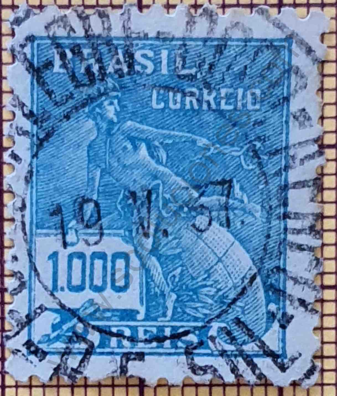 Dios Mercurio y globo terráqueo - Sello Brasil 1931