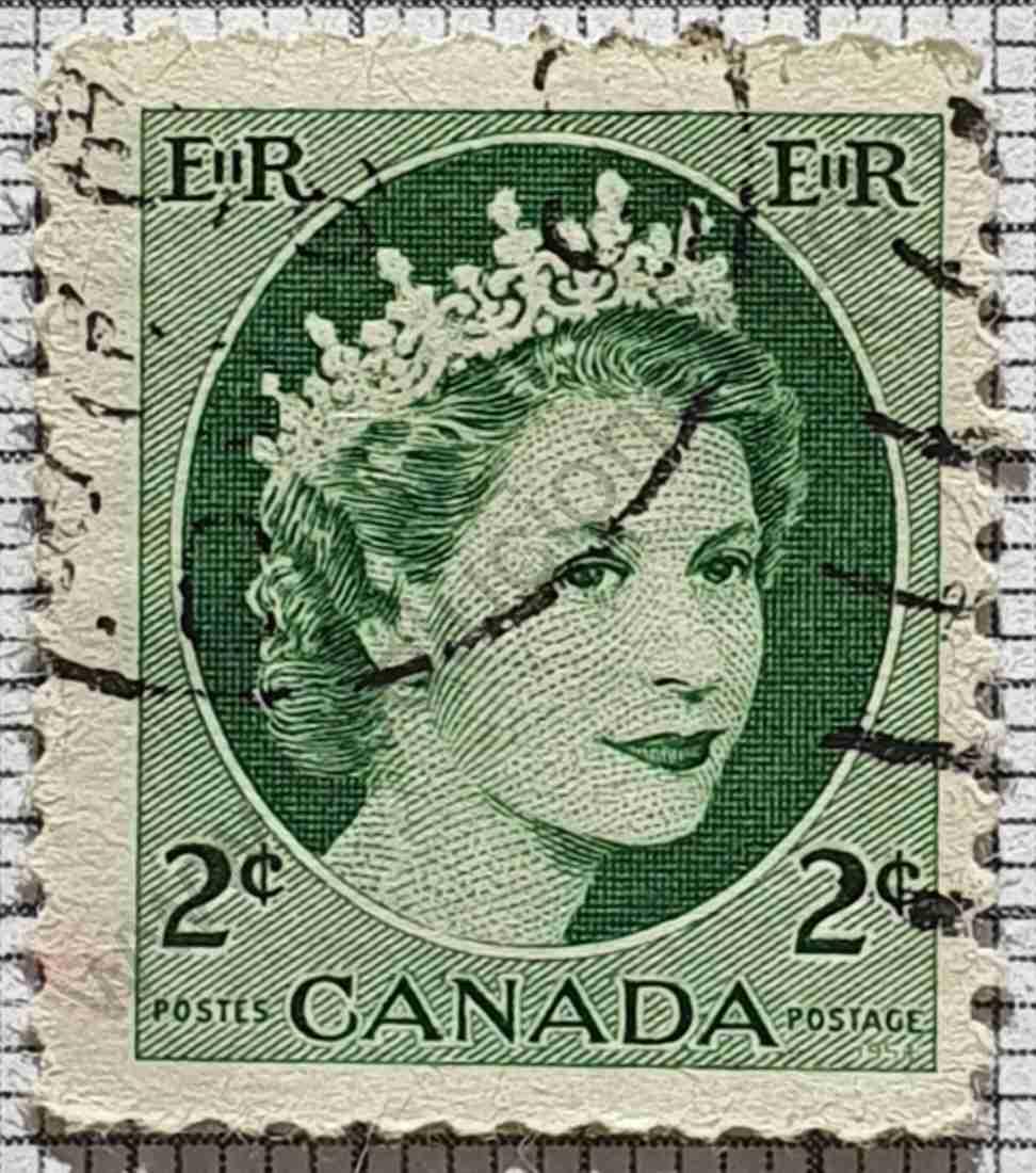 Sello Elizabeth II Canadá 2¢ año 1962