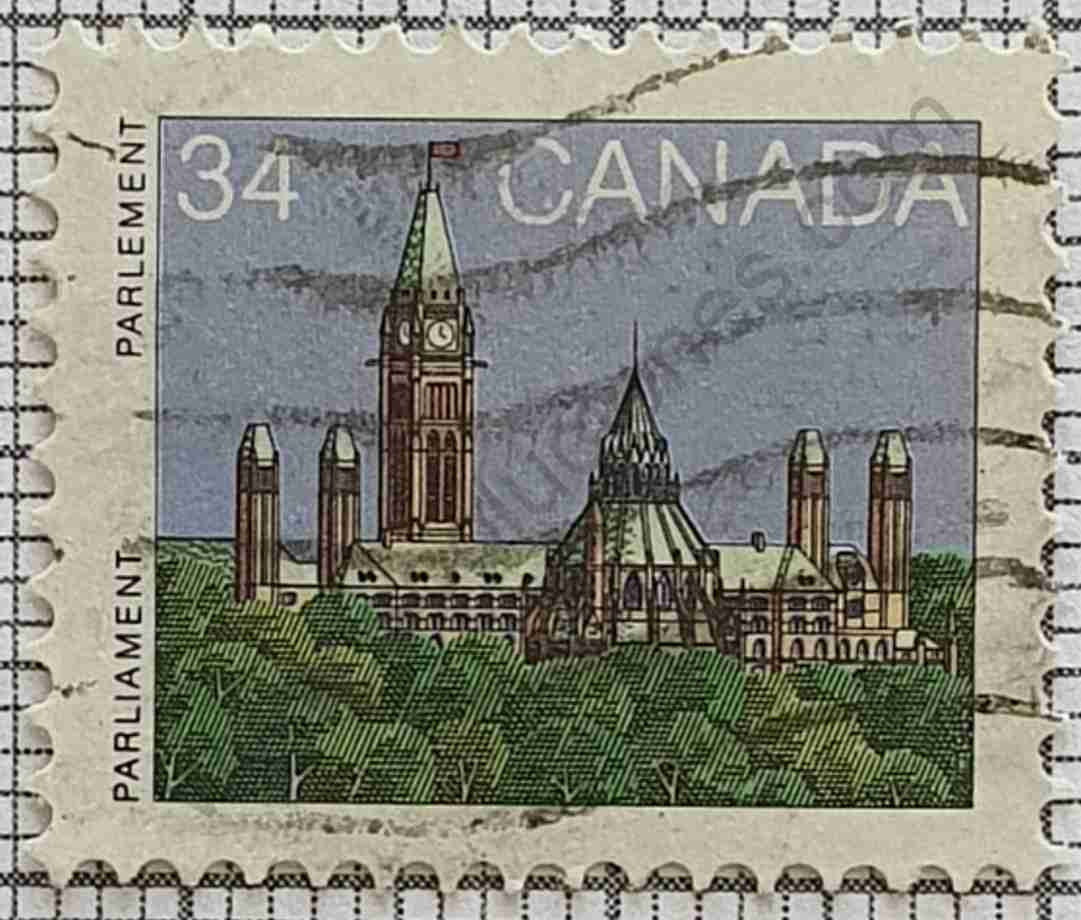 Edificios del Parlamento - Sello de Canadá año 1985