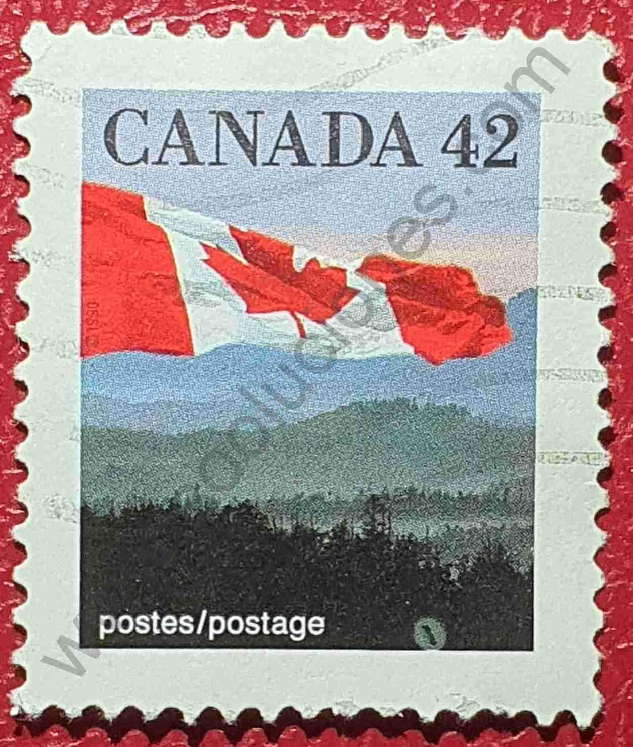 Bandera canadiense y colinas - sello de 1991