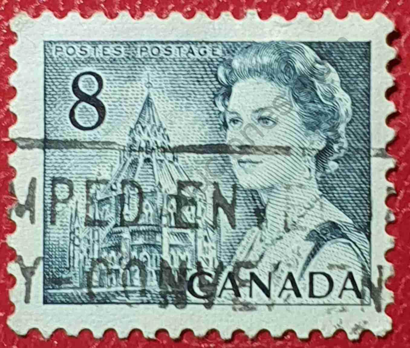 Elizabeth II y Biblioteca del Parlamento - Sello Canadá 1971