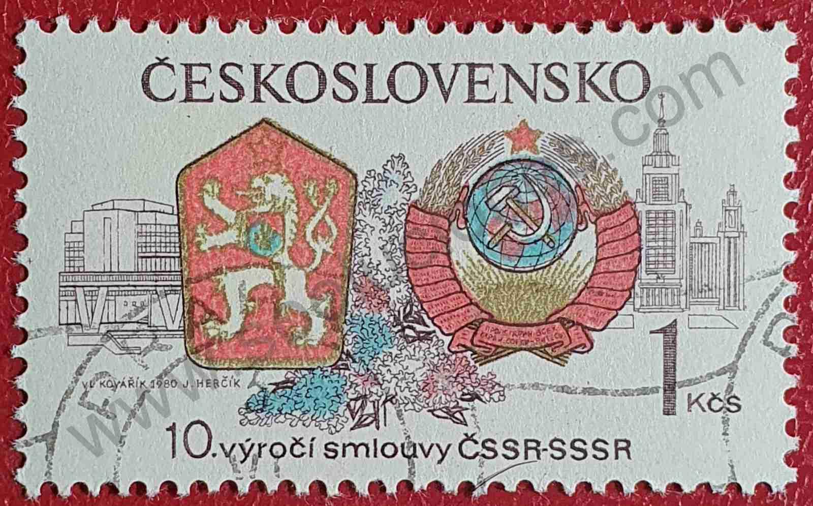10 años tratado con la URSS - sello Checoslovaquia 1980