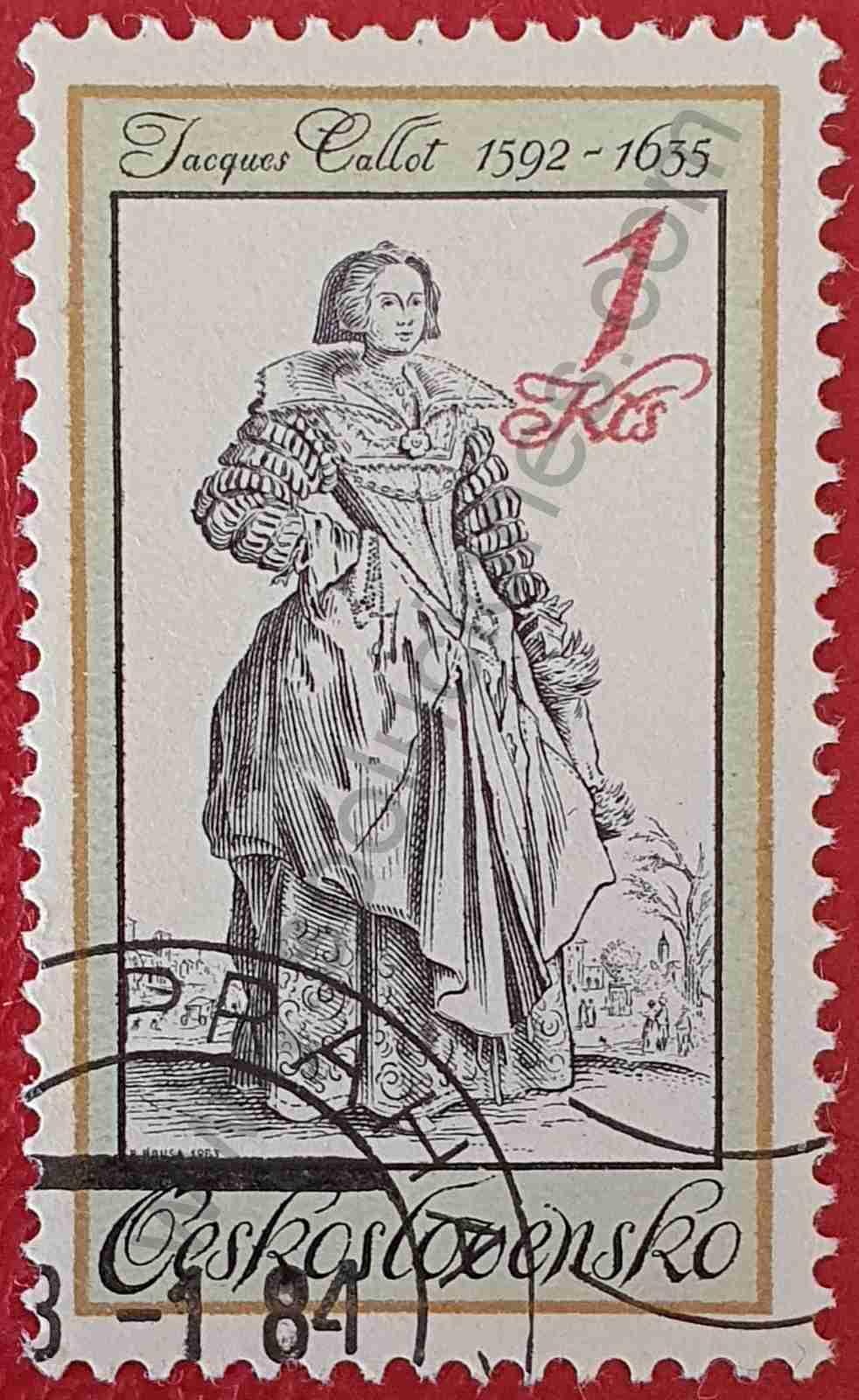 Dama con pañuelo - sello de Checoslovaquia 1983