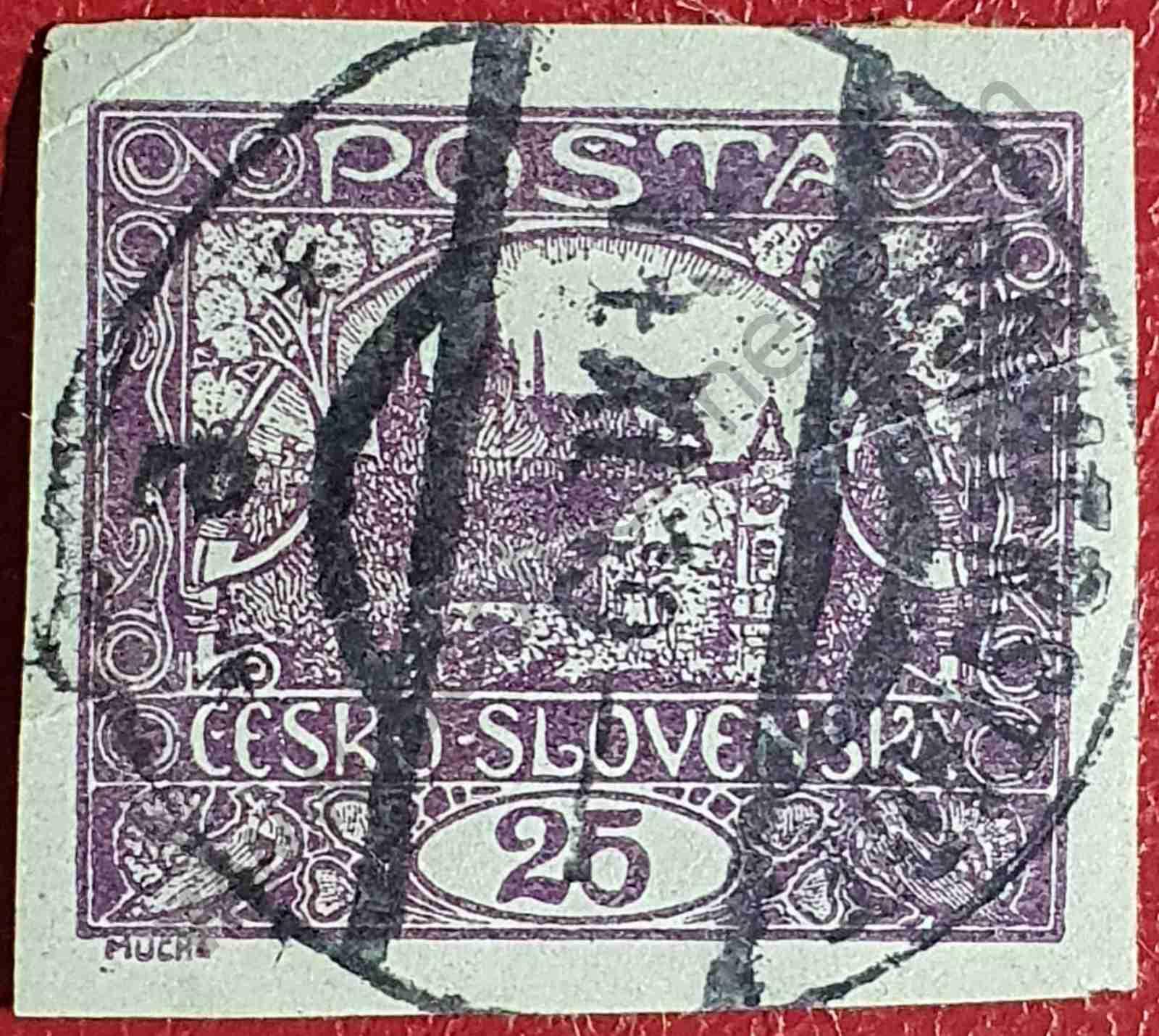 Castillo de Praga 25h - Sello Checoslovaquia 1920