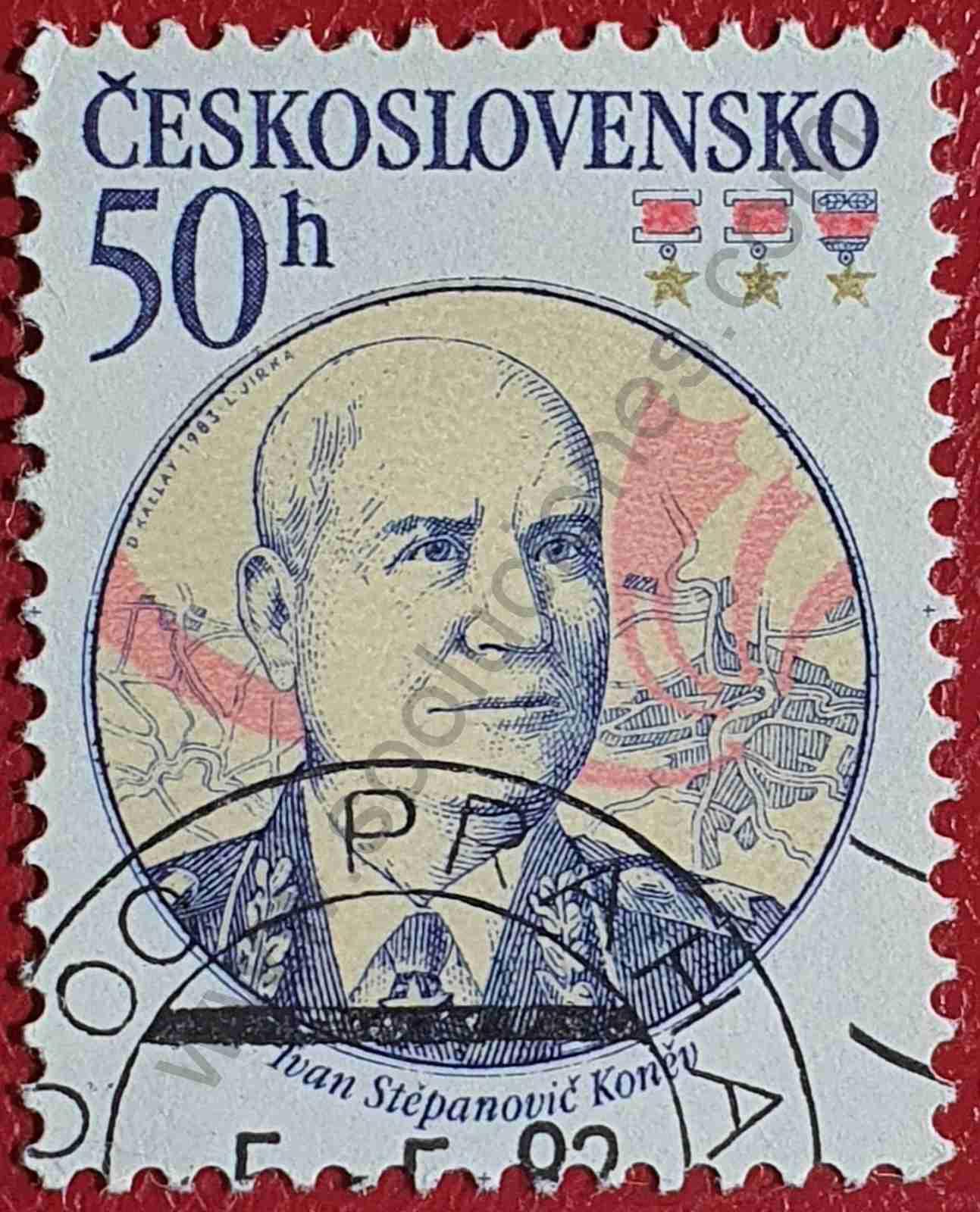 Sello Ivan Stepanovich Konev - Checoslovaquia 1983