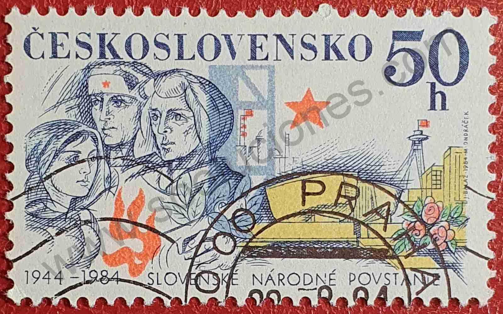 Revuelta eslovaca - Sello Checoslovaquia 1984