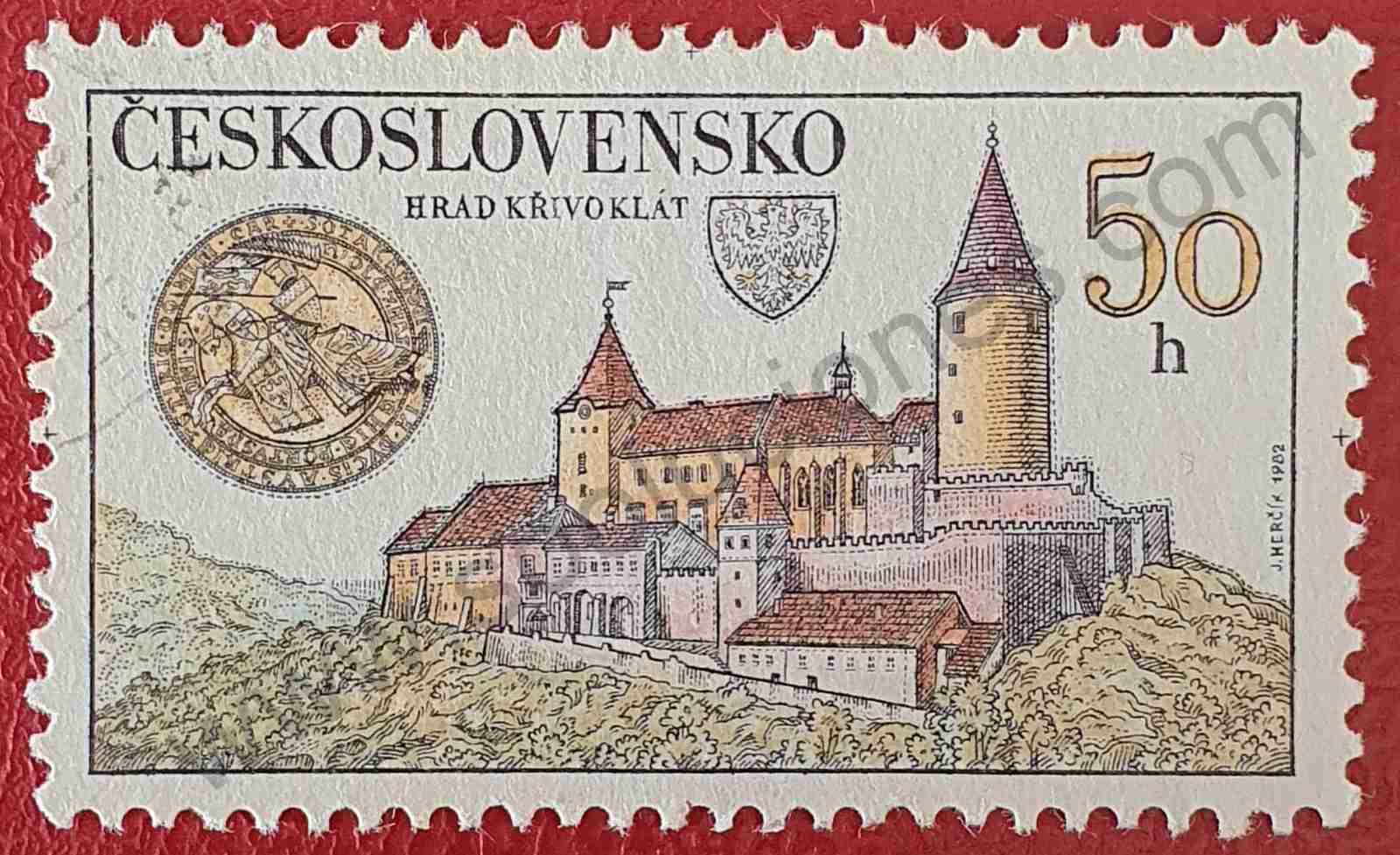Castillo Krivoklat - Sello Checoslovaquia 1982
