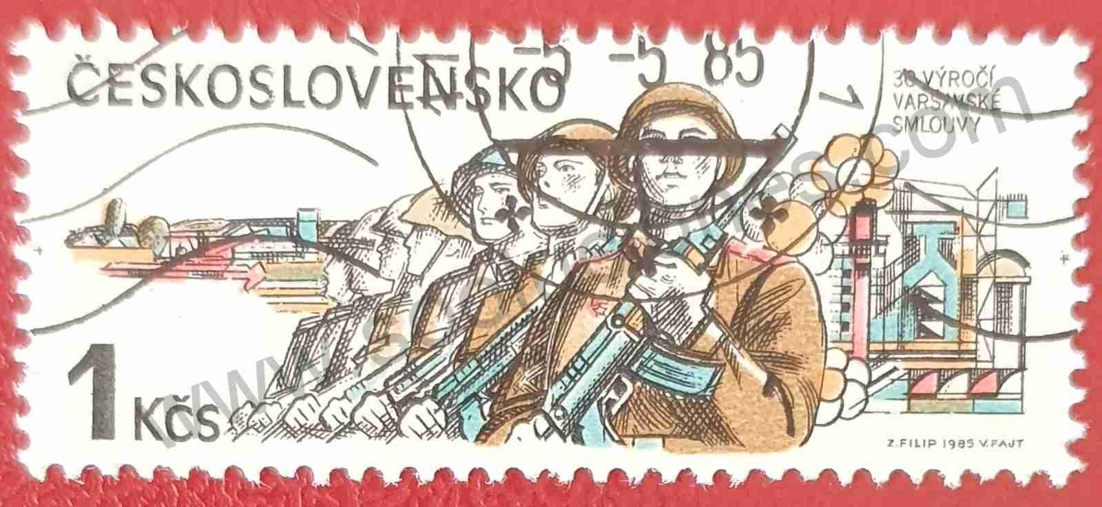 Aniversario tratado con la URSS - sello Checoslovaquia 1985