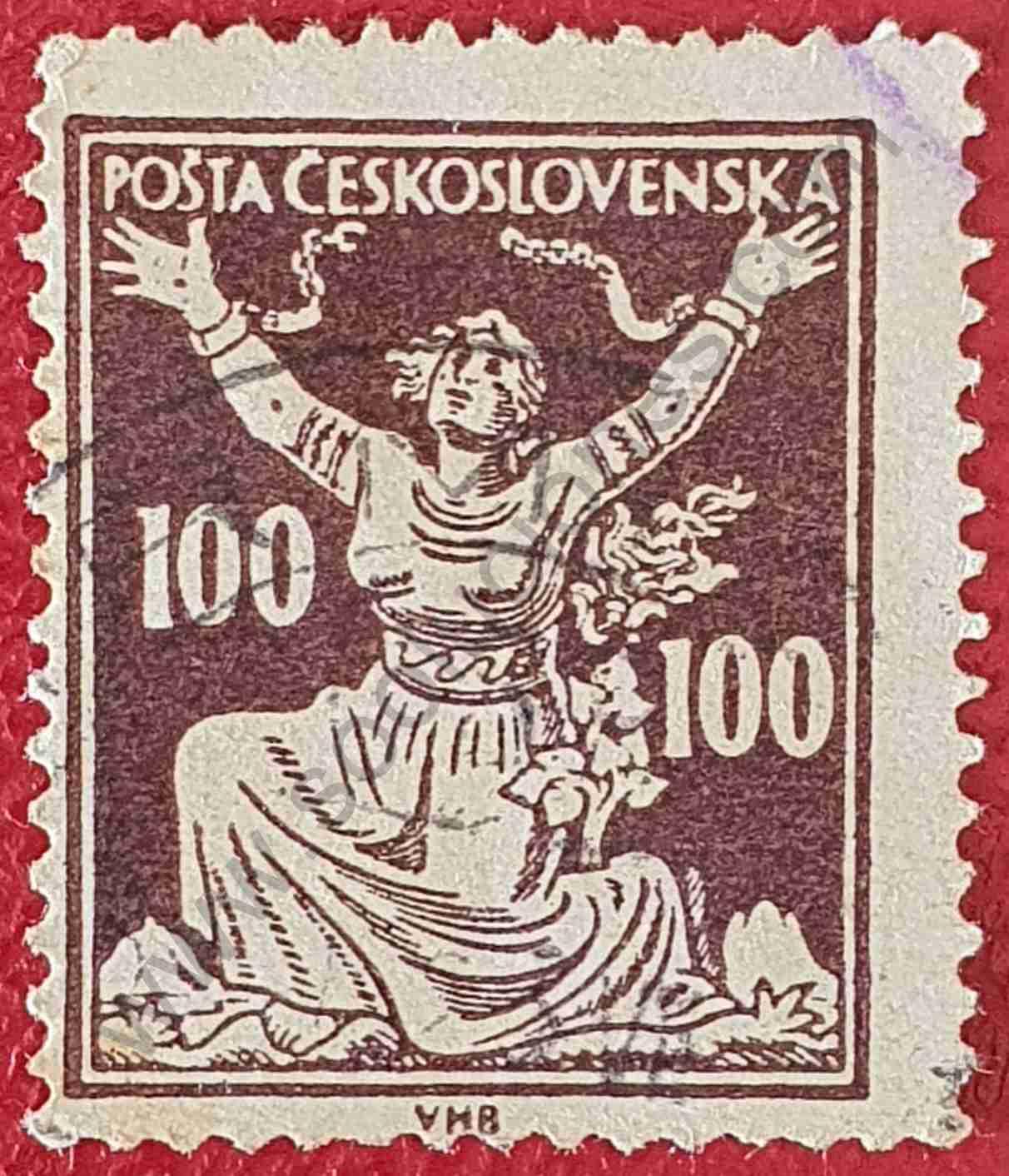 Rompiendo cadenas - Sello Checoslovaquia 1920