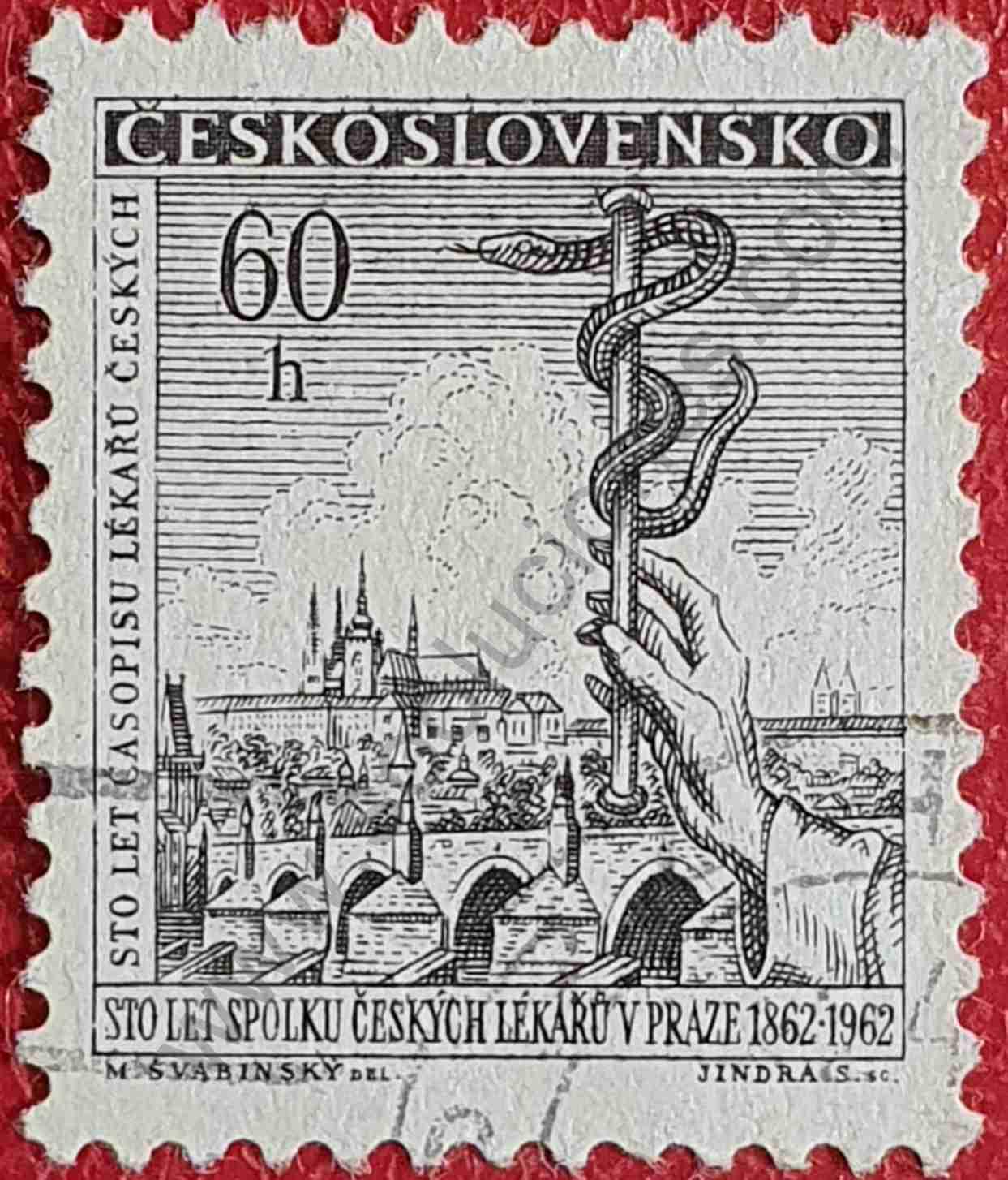 100 años asociación médica - sello Checoslovaquia 1962