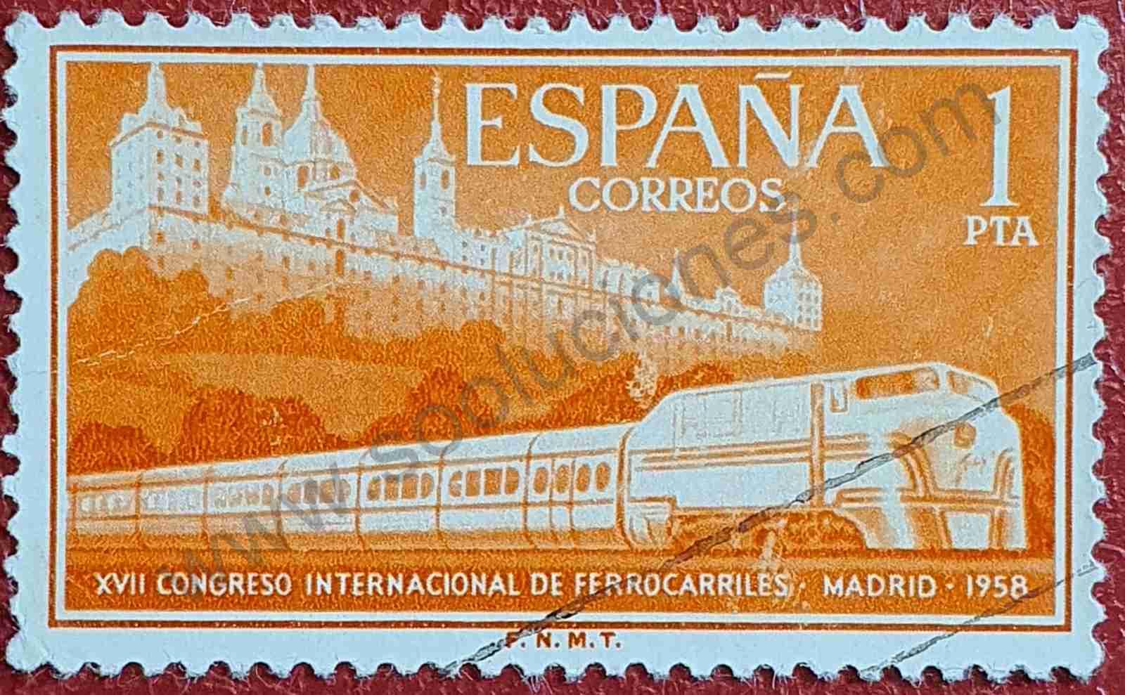 Tren Talgo y Monasterio El Escorial - Sello España 1958