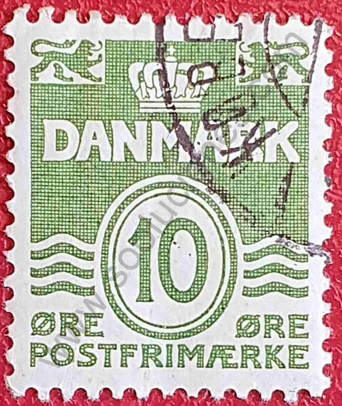 Olas - 10 coronas fluorescente - sello Dinamarca 1962